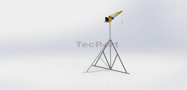 MINI-GRUA-CAP.-500KG-MODELO-TP1-COM-TRIPÉ-45m-Vista-Isométrica